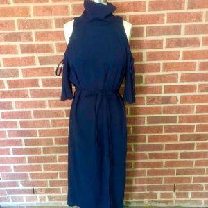 Topshop Dresses - Topshop Navy Midi Dress with Turtle Neck